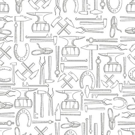 Nahtlose Muster mit Objekten auf Schmied Thema auf einem isolierten Hintergrund