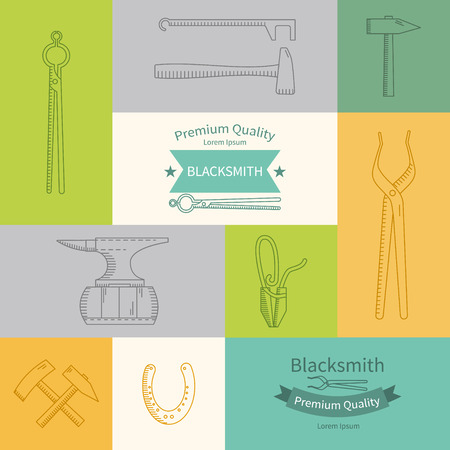 forging: Linear vector icons Blacksmith - anvil, horseshoe, hammer.  Abstract emblem set for Forging technology Illustration