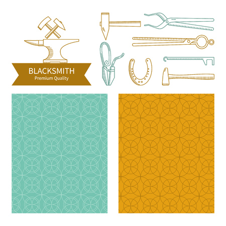 blacksmith: Vector labels blacksmith mono lines- square icon and seamless for packaging. Illustration
