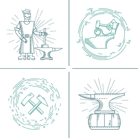 foundry: Vector icons on the theme of the blacksmith forge, anvil, hammer on an isolated background. Abstract emblem set for smithing