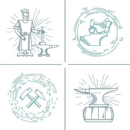 Vektor-Icons auf dem Thema der Schmied Schmiede, Amboss, Hammer auf einem isolierten Hintergrund. Abstrakt Emblem für die smithing
