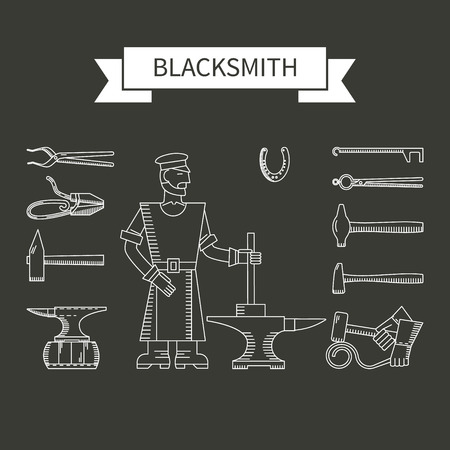 foundry: Linear vector icons on the theme blacksmith - blacksmith, anvil, hammer, horseshoes on a dark background. Abstract emblem set for blacksmithing, foundry