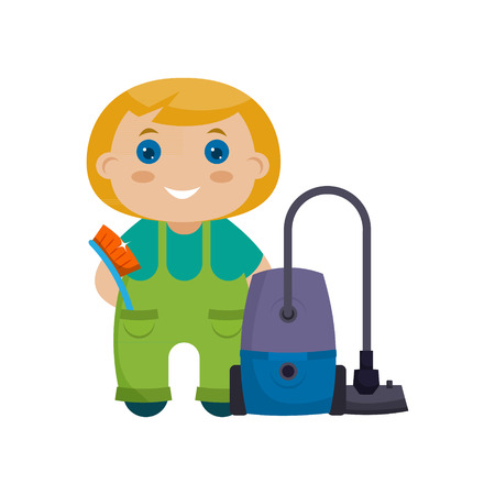 house cleaner: Young girl, dressed in cargo pants and a T-shirt with a vacuum cleaner.  Vector illustration. Flat design, cartoon style.Concept- cleaning the house
