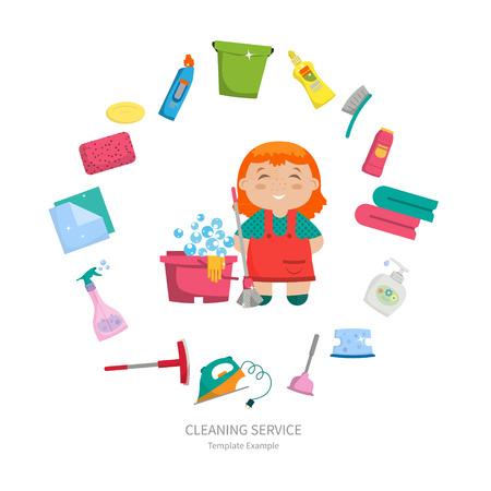Ragazza del fumetto con una serie di oggetti per la pulizia della casa - spazzole, detergenti, sapone, tovaglioli, disposti in cerchio. Illustrazione vettoriale. Design elegante, stile cartone animato. Concept - la pulizia della casa