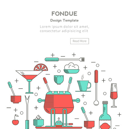 dip: Fondue party. Icons  trendy linear style on isolated background in the form of a circle.