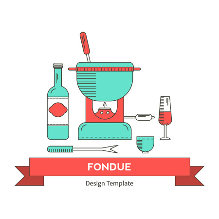 fondue: Fondue party . Icons in the trendy linear style on isolated background.