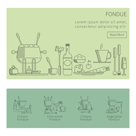 fondue: Fondue party. Vector icon set in the trendy linear style on isolated background. Traditional Swiss dishes. It can be used as design elements  for cards, invitations, menus,  printing products Illustration