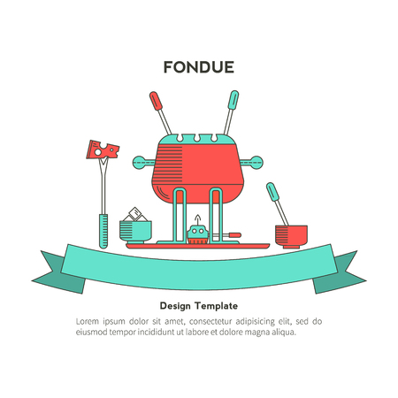 dipping: Fondue party . Icons in the trendy linear style on isolated background. Traditional Swiss dishes. It can be used as design elements for cards, invitations, menus  and other printing products