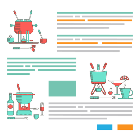 dipping: Fondue party. Example template design brochures, flyers. Traditional Swiss dishes. Vector illustration. Illustration
