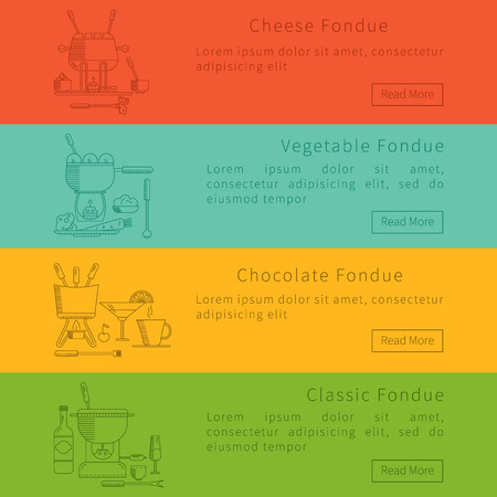 dipping: Fondue party. Fondue. Vector set of banners in the trendy linear style. Traditional Swiss dishes. It can be used as design elements for cards, invitations, menus and other printing products.