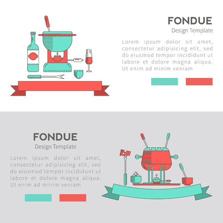 fondue: Fondue party. Fondue. Vector set of banners in the trendy linear style. Traditional Swiss dishes. It can be used as design elements for cards, invitations, menus and other printing products.