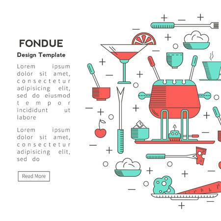 fondue: Fondue party. Icons  trendy linear style on isolated background in the form of a circle. Traditional Swiss dishes.  It can be used as design elements for cards, invitations, menus,  printing products