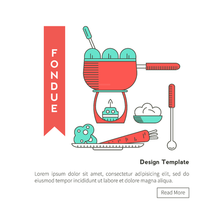 fondue: Fondue party . Icons in the trendy linear style on isolated background. Traditional Swiss dishes. It can be used as design elements for cards, invitations, menus  and other printing products