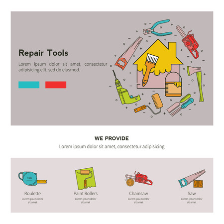 wire cutter: Set of objects on the theme of Repair Tools - drill, wire cutter, brush, paint. Icons Set in the trendy linear style.