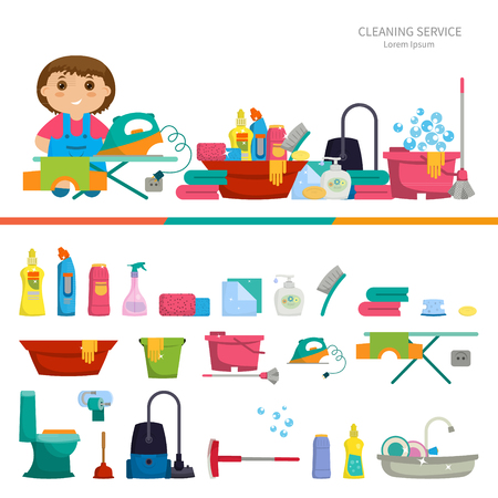 cartoon cleaner: Cartoon girl with a set of objects for cleaning the house - brushes, cleaners, soap, napkins. Vector illustration. Flat design, cartoon style. Concept- cleaning the house Illustration