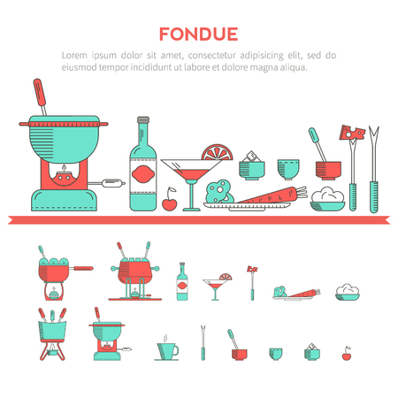 fondue: Fondue party. Vector icon set in the trendy linear style on isolated background.