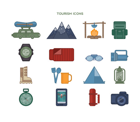 sleeping car: Travel flat icons backpack, shoes, compass.