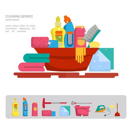 I prodotti per la pulizia della casa. Illustrazione vettoriale. Design piatto, cartone animato style.Concept- la pulizia della casa Vettoriali