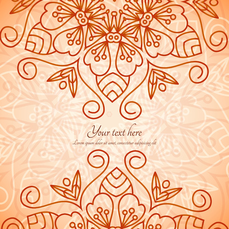 Vector card with mandala. Vector background. Card or invitation. Wedding invitation. Lace ornament, round ornament. Vostochny style. Stock Illustratie