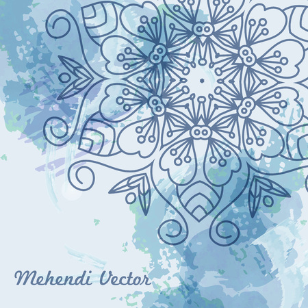 Vector card with mandala. Vector background. Card or invitation. Wedding invitation. Lace ornament, round ornament. Vostochny style. Mandala watercolor background vector
