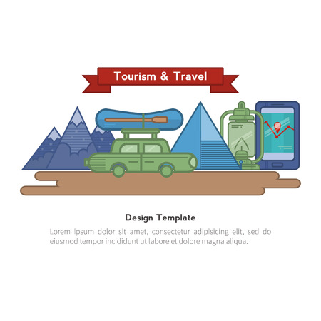 recreational climbing: Travel flat icons backpack, shoes, compass.  Design elements camping equipment, hiking, climbing, recreational tourism. They can be used for banners, greeting cards and other printed products