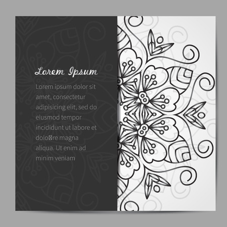 mandala vector: Vector card with mandala. Vector background. Card or invitation. Wedding invitation. Lace ornament, round ornament. East style. Illustration