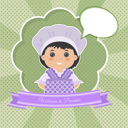 provence: Invitation Welcome to Provence. Cartoon girl in national dress Provence. There a place in your text. Illustration
