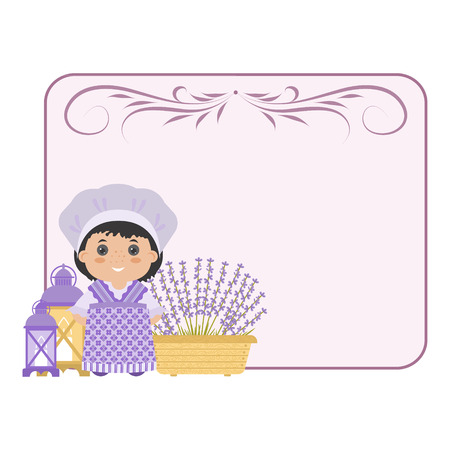 Photo frame in the style of Provence. Cartoon girl in national dress of Provence, lavender. With space for your text or photos.