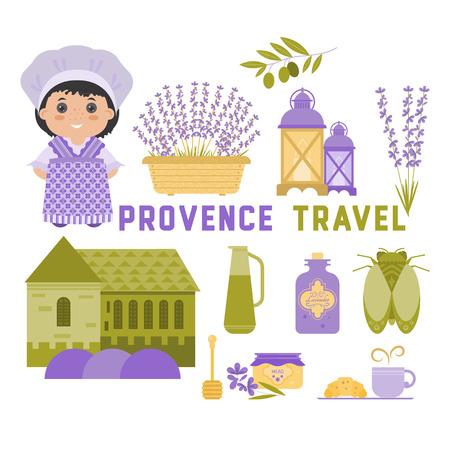 Conjunto de vectores de diseño del símbolo del elemento Provence, Francia. Lavanda, aceite de lavanda, cigarra, aceite de oliva, linterna. Puede ser utilizado para las tarjetas de viaje, invitaciones, carteles y otros materiales impresos. Ilustración de vector