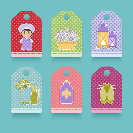 provence: Set the label in the style of Provence. Cartoon girl in national dress of Provence, lavender, cicada, olives. It can be used in packaging design.