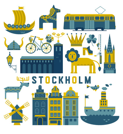 Vector set of characters with elements of Swedish design.