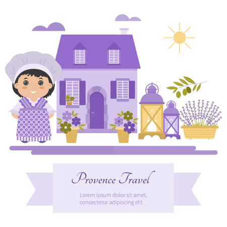 provence: Set vector symbol design element Provence, France. Lavender, Lavender oil, cicada, olive oil, lantern. It can be used for travel cards, invitations, posters and other printed materials.