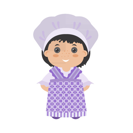 lavender oil: Cartoon girl in national dress Provence on an isolated background. It can be used as  design element for cards, invitations, posters and other printed materials Illustration