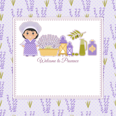 provence: Set of vector design elements symbol of Provence, France. Lavender, lavender, cicadas, olive oil, lantern. It can be used for travel cards, invitations, posters  with space for your text