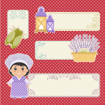provence: Set of banner in the style of Provence. Cartoon girl in national dress of Provence, lavender, olives. There a place in the text.