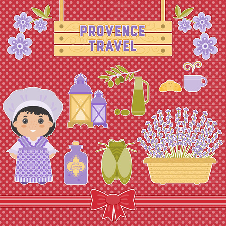 Set vector symbol design element Provence, France. Lavender, Lavender oil, cicada, olive oil, lantern. It can be used for travel cards, invitations, posters and other printed materials.