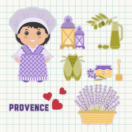 lavender oil: Vector set of design elements, symbols Provence. Lavender, Lavender oil, cicada, the national dress of Provence. Background  in the cell. It could be used for greeting cards, posters, invitations. Illustration