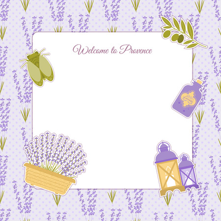 lavender oil: Set of vector design elements symbol of Provence, France. Lavender, lavender, cicadas, olive oil, lantern. It can be used for travel cards, invitations, posters  with space for your text
