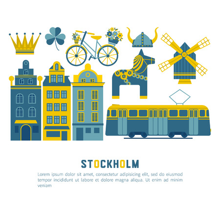 town hall: Vector set of characters with elements of Swedish design. Town Hall. A lion. Horse Dali. Vikings. It could be used for greeting cards, invitations, posters, flyers and other printed materials.