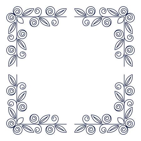 Floral square frame. Border. Photo Frame. Isolated background.
