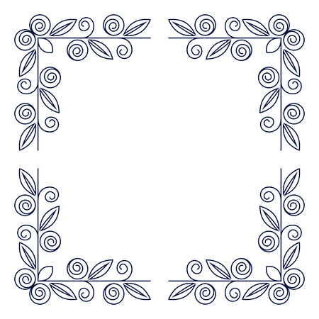 boarders: Floral square frame. Border. Photo Frame. Isolated background.