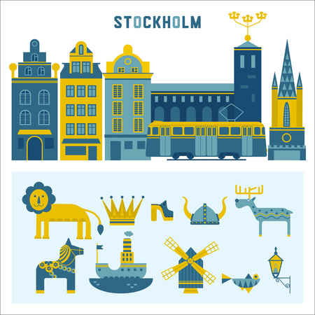 dali: Vector set of characters with elements of Swedish design. Town Hall. A lion. Horse Dali. Vikings. It could be used for greeting cards, invitations, posters, flyers and other printed materials.