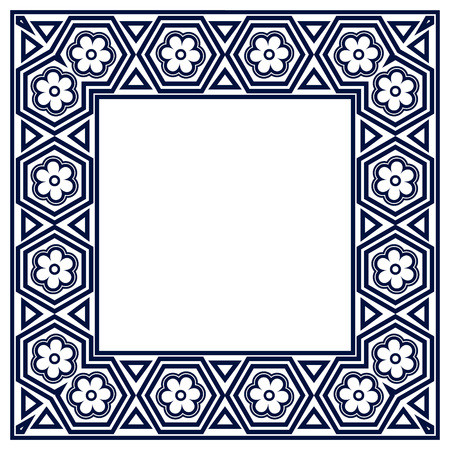motifs: Frame with geometric motifs.  Border. Photo Frame. Isolated background.