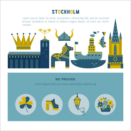 Vector set of characters with elements of Swedish design. Town Hall. A lion. Horse Dali. Vikings.