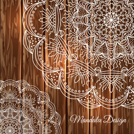 braiding: Vector lace mandala. Decor for your design, round pattern with a lot of detail on a wooden background. East style. Lace handmade. Illustration
