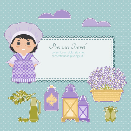mead: Set vector symbol design element Provence, France. Lavender, Lavender oil, cicada, olive oil, lantern. It can be used for travel cards, invitations, posters and other printed materials.