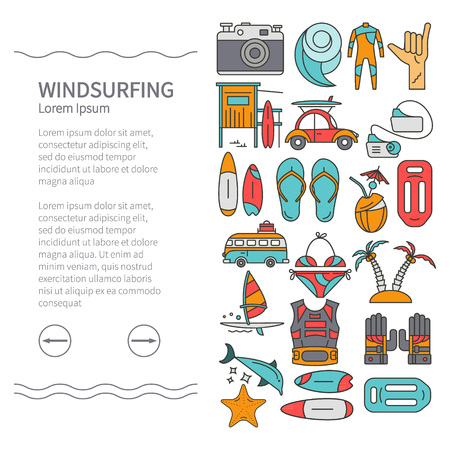 sailboard: Linear Design Windsurfing brochure template, leaflets. Sail, board, wave, wetsuit, starfish, swimsuit. The concept of an active summer holiday. Family holiday. Illustration