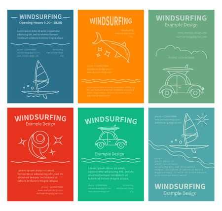 Set of design templates for brochures, flyers Windsurfing. Concept of an active summer holiday. Family holiday Illustration