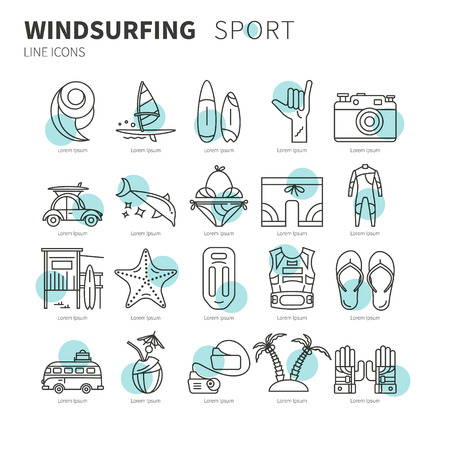 wetsuit: Vector set of icons line for windsurfing. Board with a sail, wetsuit, surfboard, wave, sail. For outdoor enthusiasts of the sea and an active lifestyle. Family summer vacation. Illustration