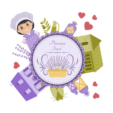 provence: Vector set of elements Provence. Lavender, house, lantern, cicada. Objects are arranged in circle.